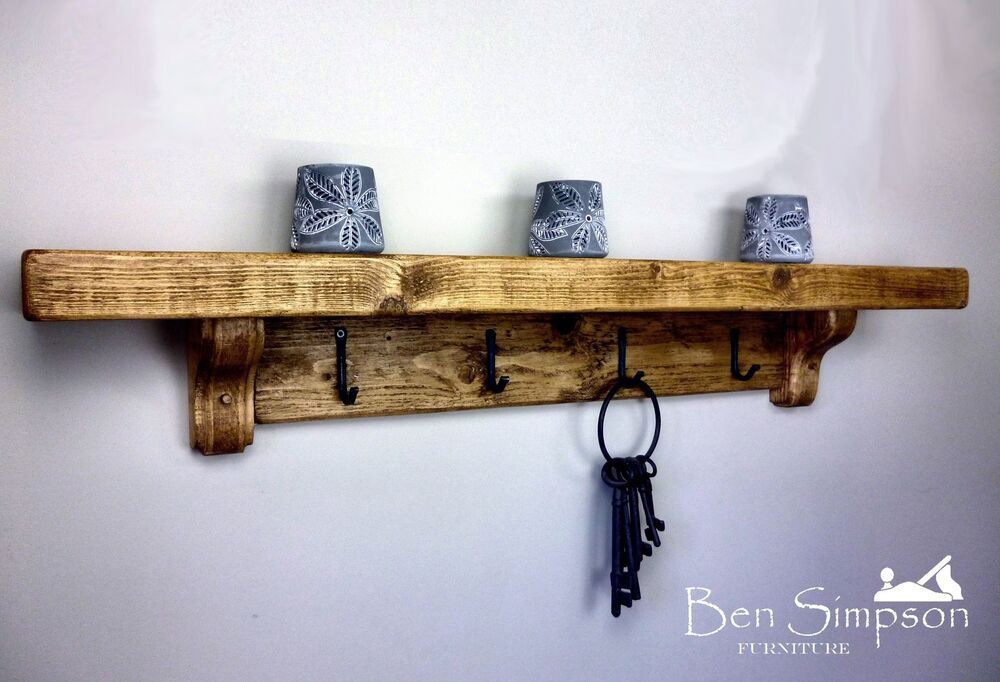 Chunky Rustic Wooden Coat Rack Shelf Shelves Coat Stand