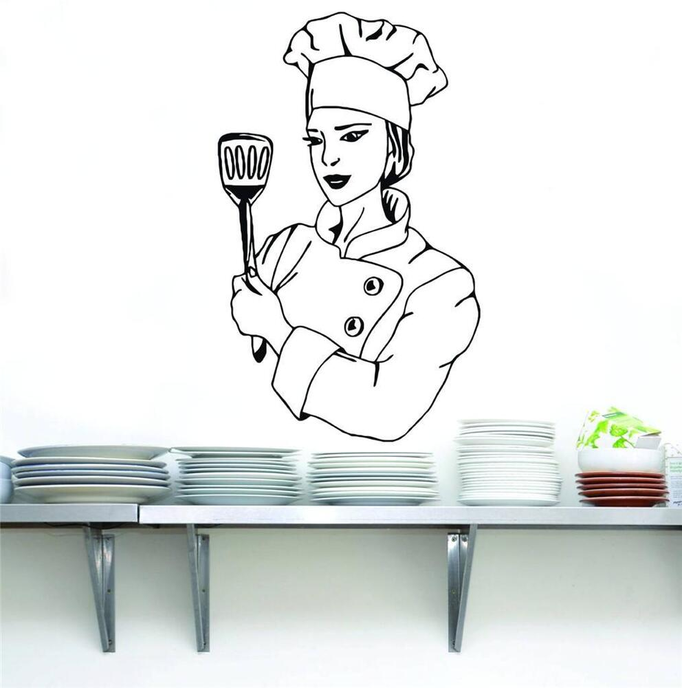 Chef decal wall sticker art home decor vinyl stencil funny - Funny kitchen wall decals ...