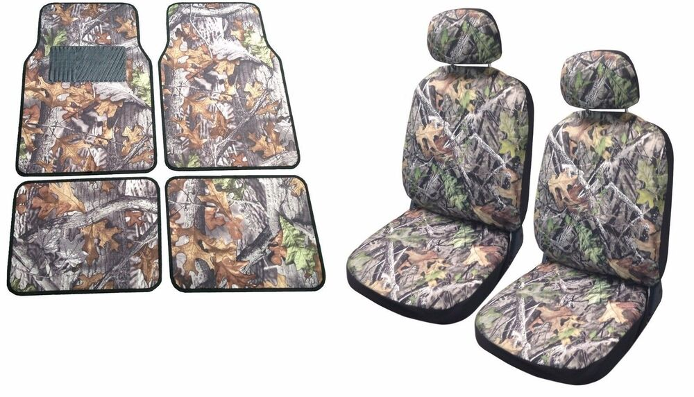 Camo Seat Cover Front Pair Floor Mats Camouflage Gray