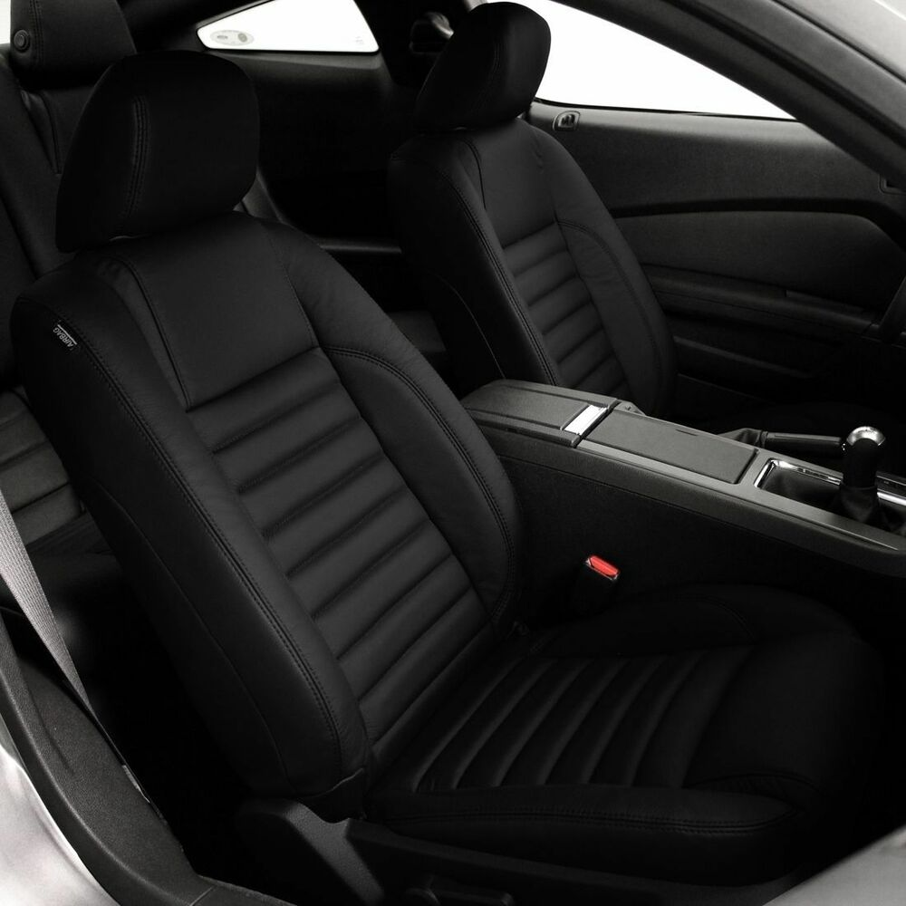 2013 2014 Ford Mustang Coupe V6 Gt Black Katzkin Leather Interior Seat Cover Ebay