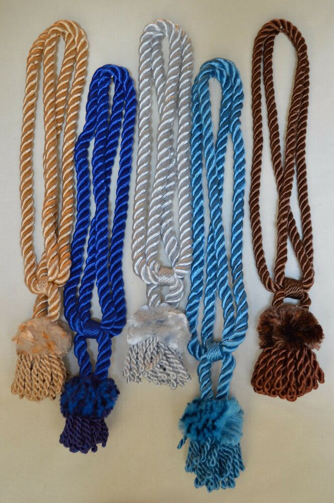 """Curtain Chair Tie Back 24""""Spread w 4""""Lion Mane Tassel 6 Colors to ..."""