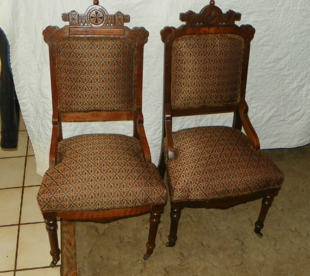 Pair of Walnut Carved Eastlake Sidechairs Parlor Chairs