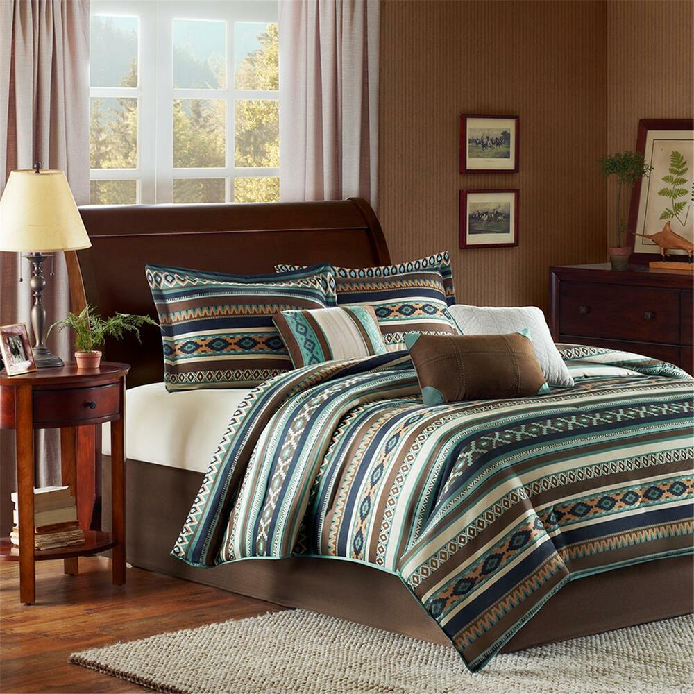 Beautiful Lodge Cabin Country Chevron Stripe Blue Brown