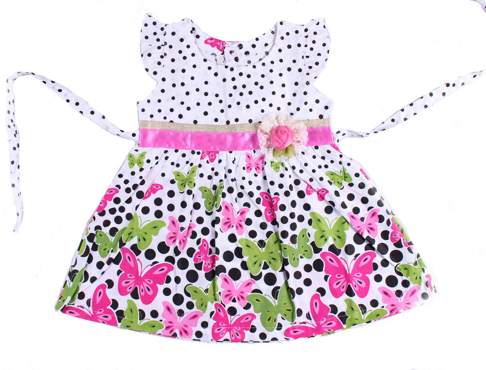 New baby girls floral cotton party dress in pink hot pink 3 6 to 9 12