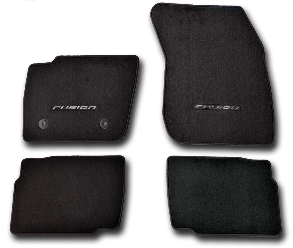 Oem New 2017 Ford Fusion Premium 20oz Shiva Carpet Floor Mats Black Embroidered Ebay