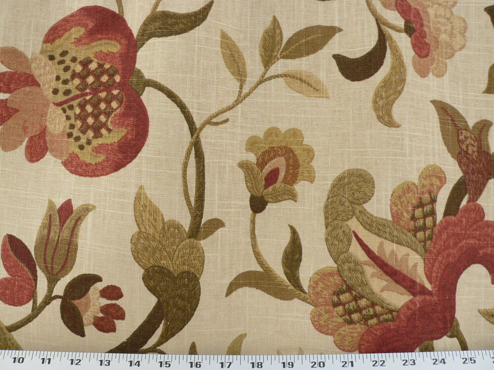 Drapery upholstery fabric linen floral tan brown red for Floral upholstery fabric
