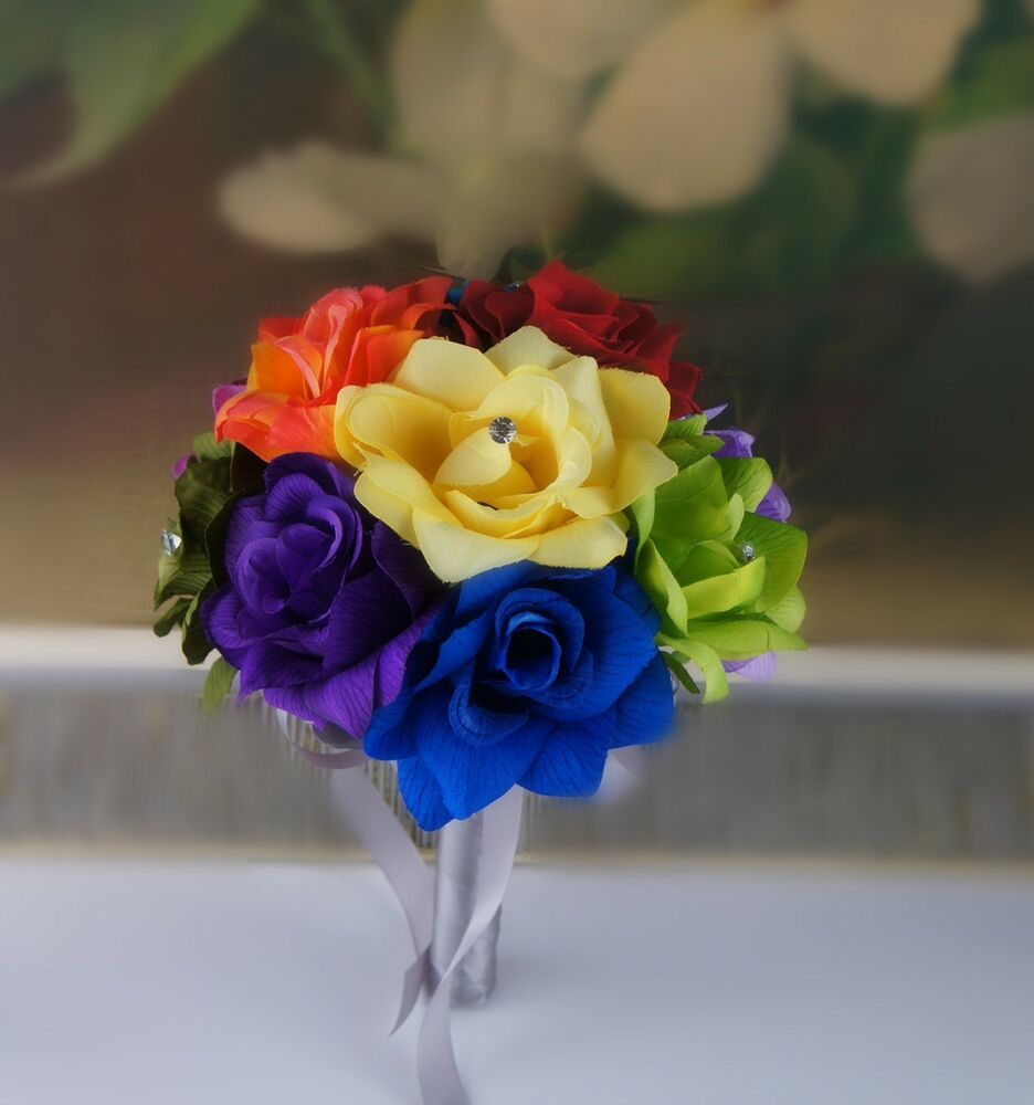 8 wedding bouquet bridesmaid toss flower girl rainbow green orange red purple ebay - Flowers good luck bridal bouquet ...