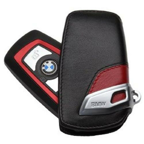 Bmw Key Fob: GENUINE BMW Leather Key Case Fob; Black/Red 82292219909
