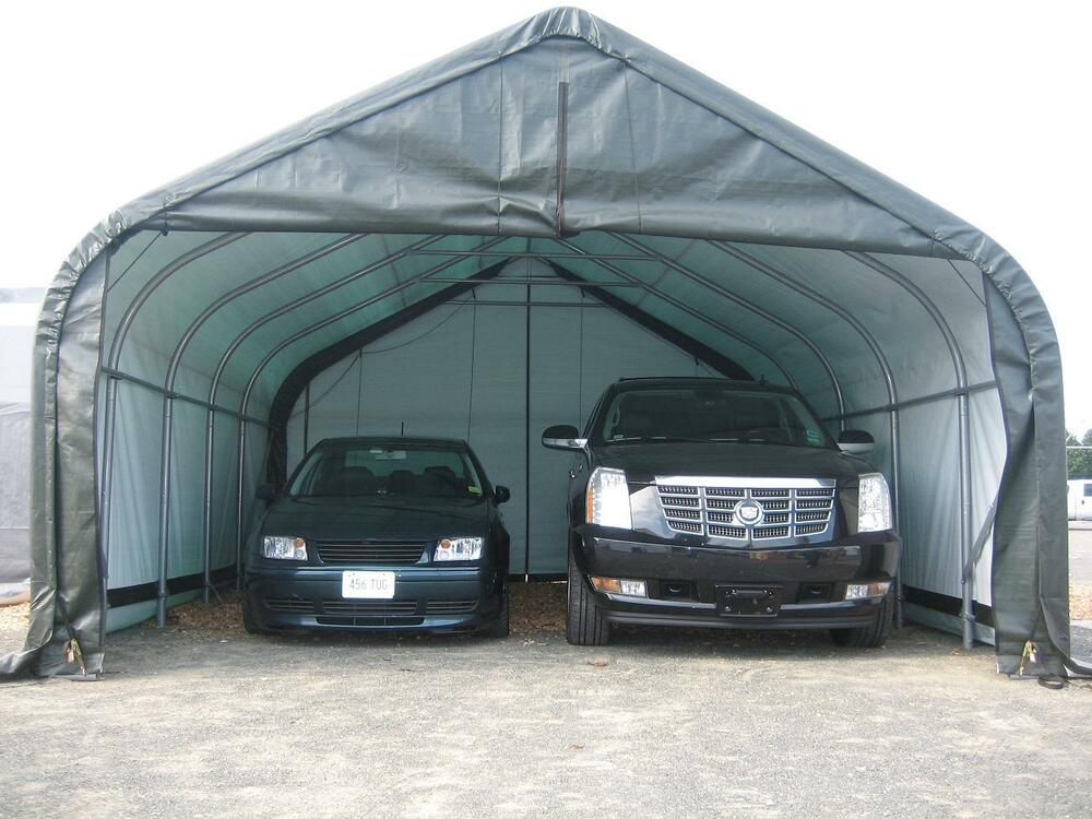 18x20x12 Peak ShelterLogic Snow Shedding Portable Garage ...