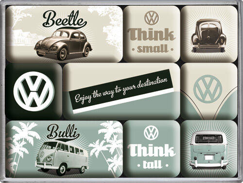 vw beetle bulli auto bus nostalgie k hlschrank magnet set 9 tlg tin sign mag39 ebay. Black Bedroom Furniture Sets. Home Design Ideas