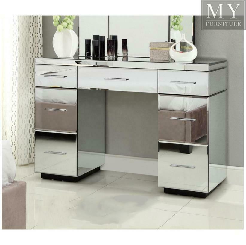 Rio mirrored dressing table console 7 drawer mirror furniture ebay Mirror glass furniture