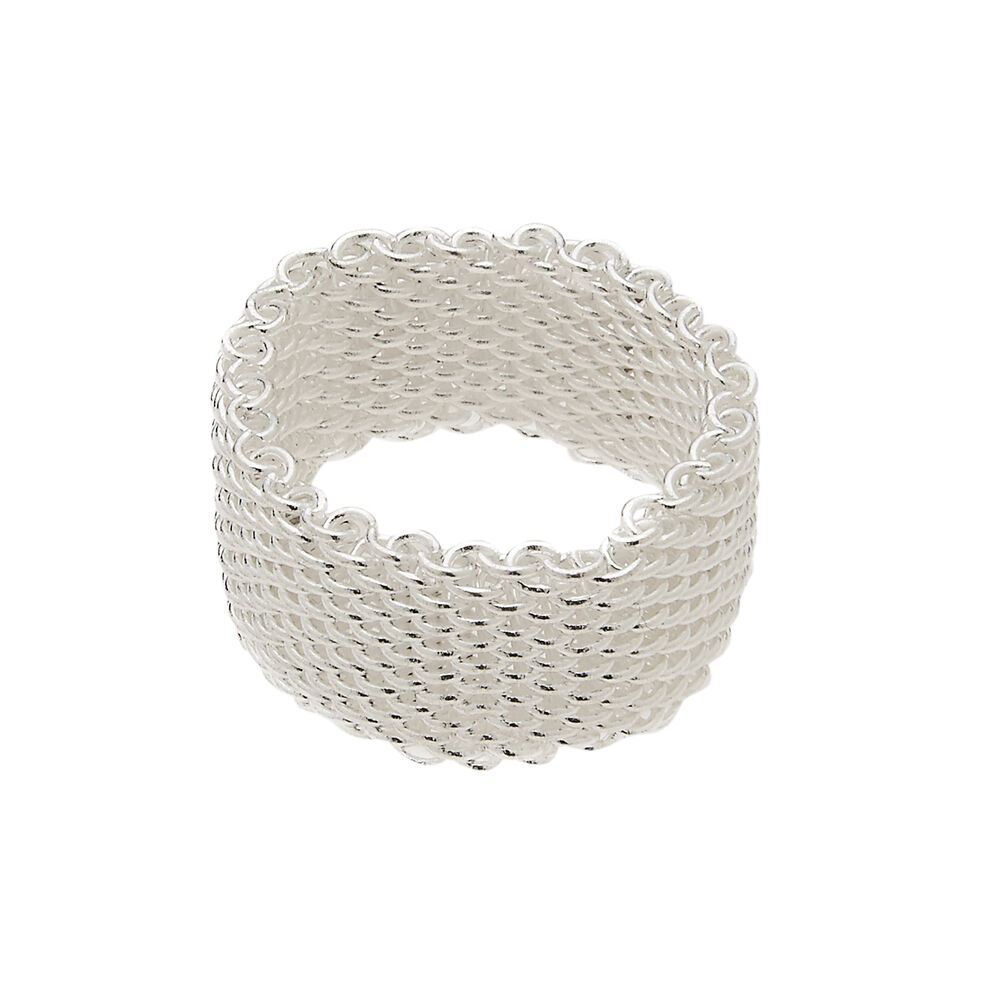 sterling silver soft mesh wire chain ring fashion ring