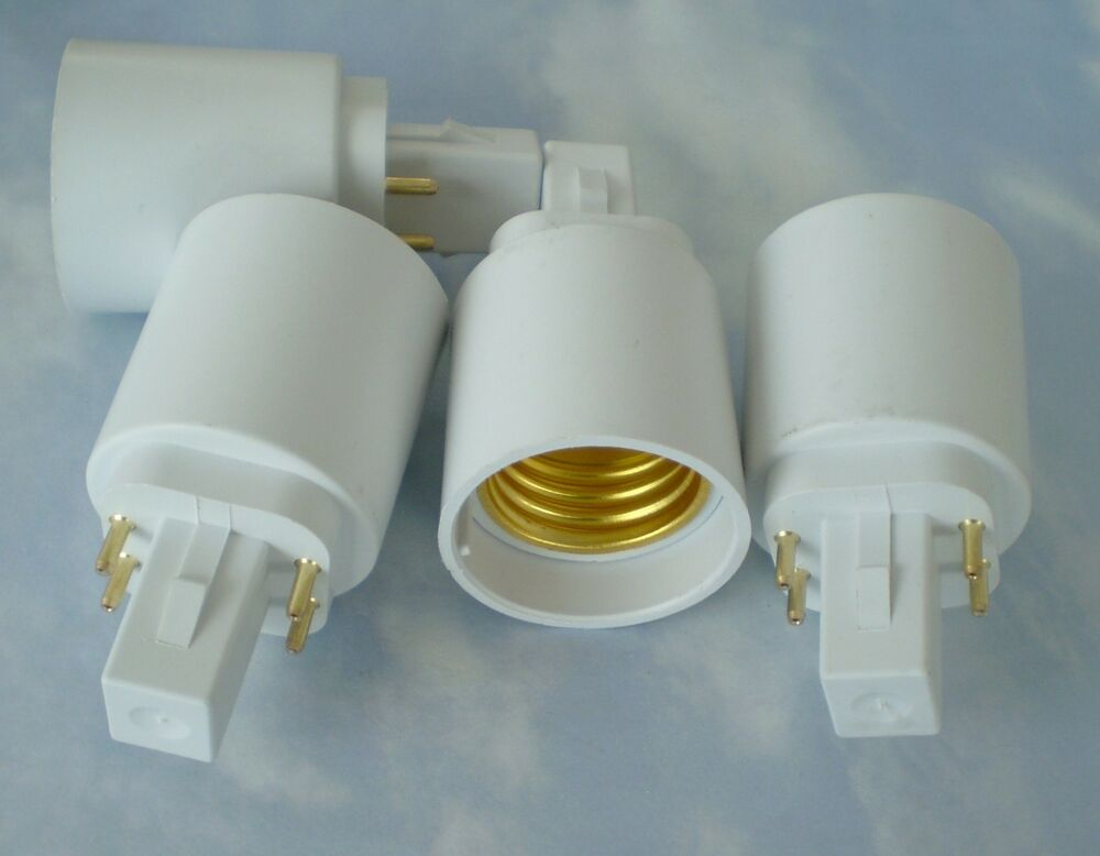four pack adapters to use e27 e26 light bulbs in a g24 4. Black Bedroom Furniture Sets. Home Design Ideas