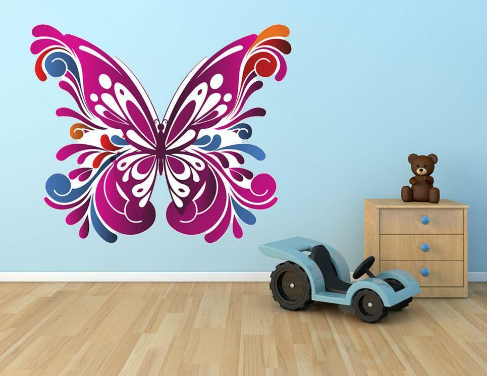 butterfly vine art mural wall decals stickers home kids nursery baby decor ebay. Black Bedroom Furniture Sets. Home Design Ideas