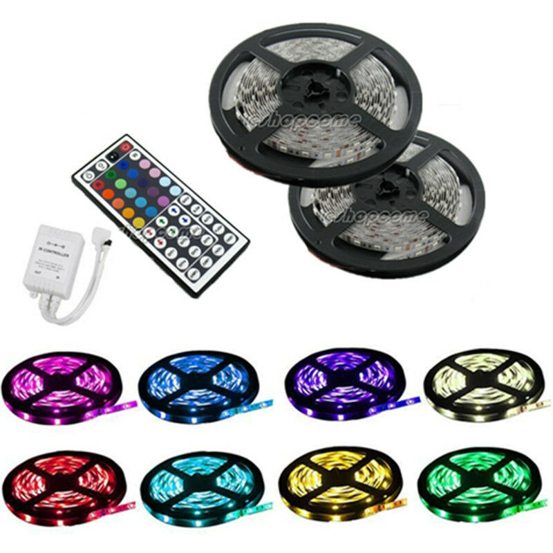 10m 5050 smd led rgb streifen leiste strip licht wand 44 key ir fernbedienung ebay. Black Bedroom Furniture Sets. Home Design Ideas