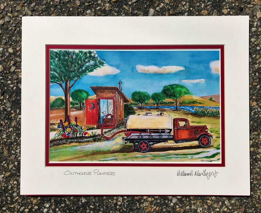 Outhouse Pumper Septic Truck Art Print Ford Bathroom