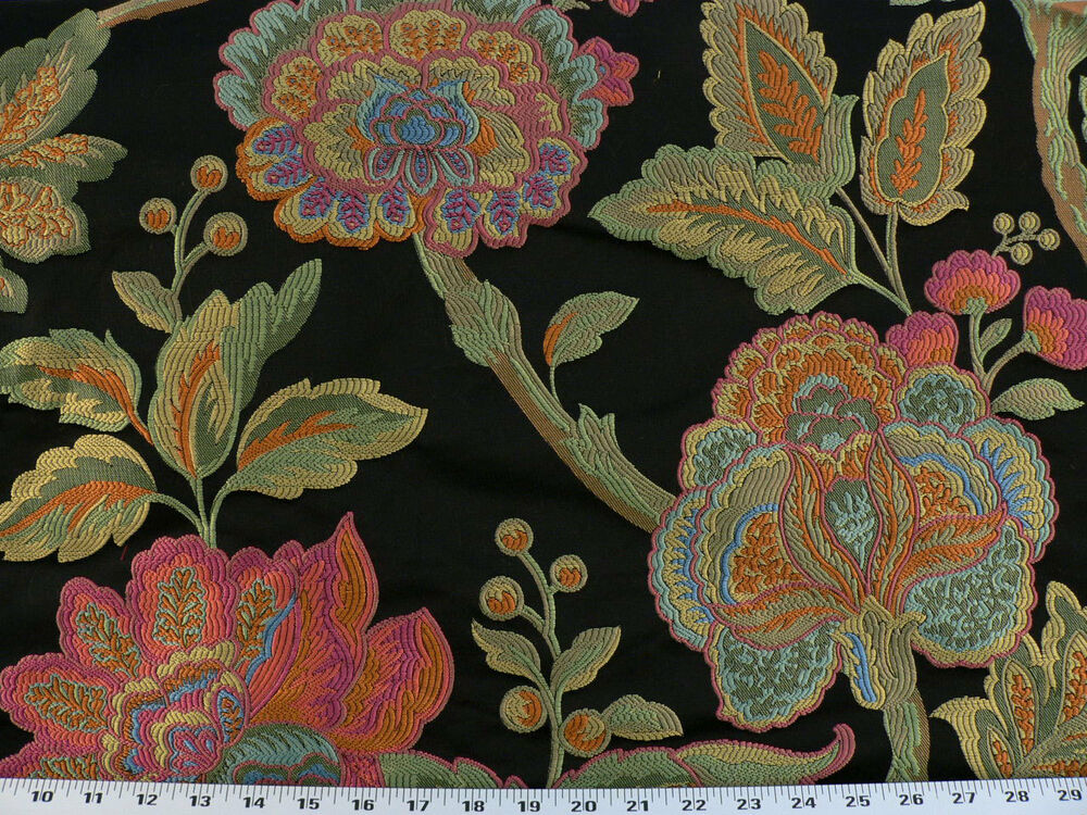 Drapery Upholstery Fabric Floral Pink Orange Green Blue
