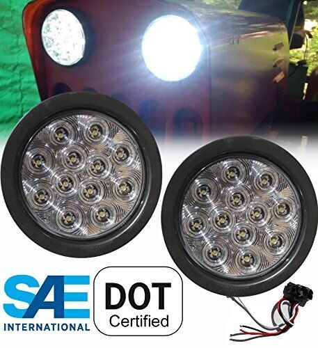 2x New 4 U0026quot  Round Truck Trailer Clear Led Light Back
