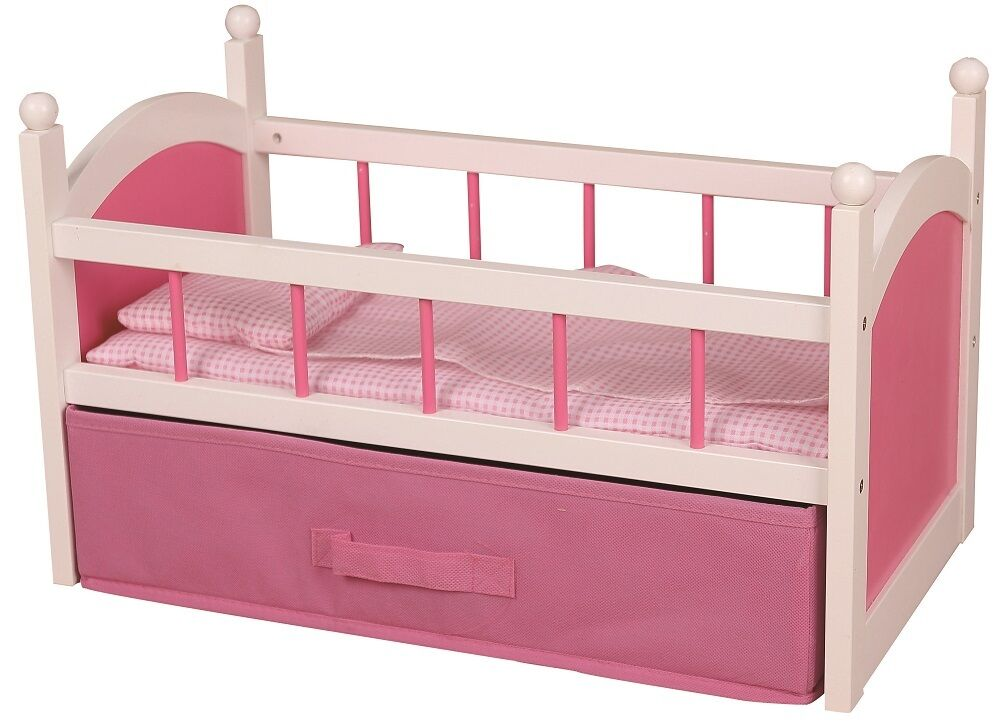 Girls Kids Childrens Wooden Nursery Bedroom Furniture Toy: Wooden White Pink Doll's Bed Cot Crib Girls Babies Dollies