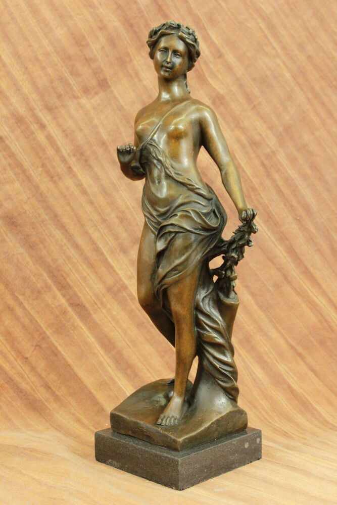 Real bronze metal stone statue classical victorian woman