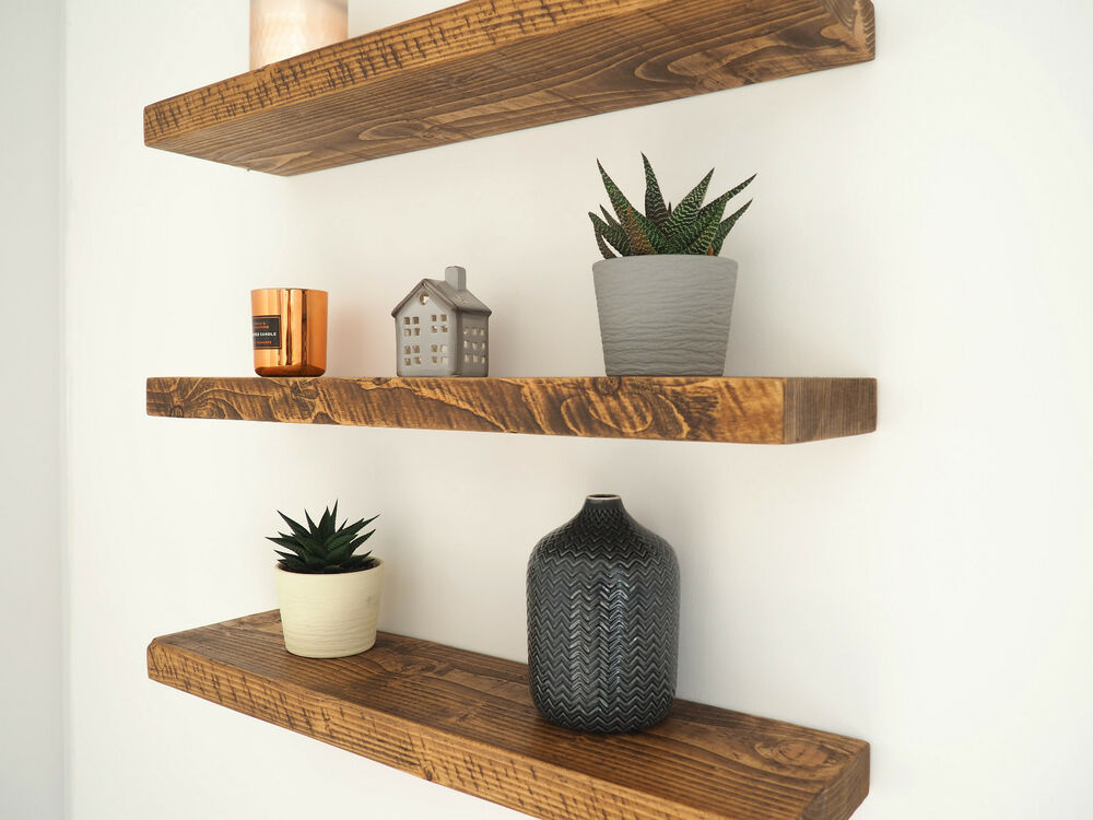 Floating Wood Shelves ~ Rustic floating shelves chunky wood shelf mantel
