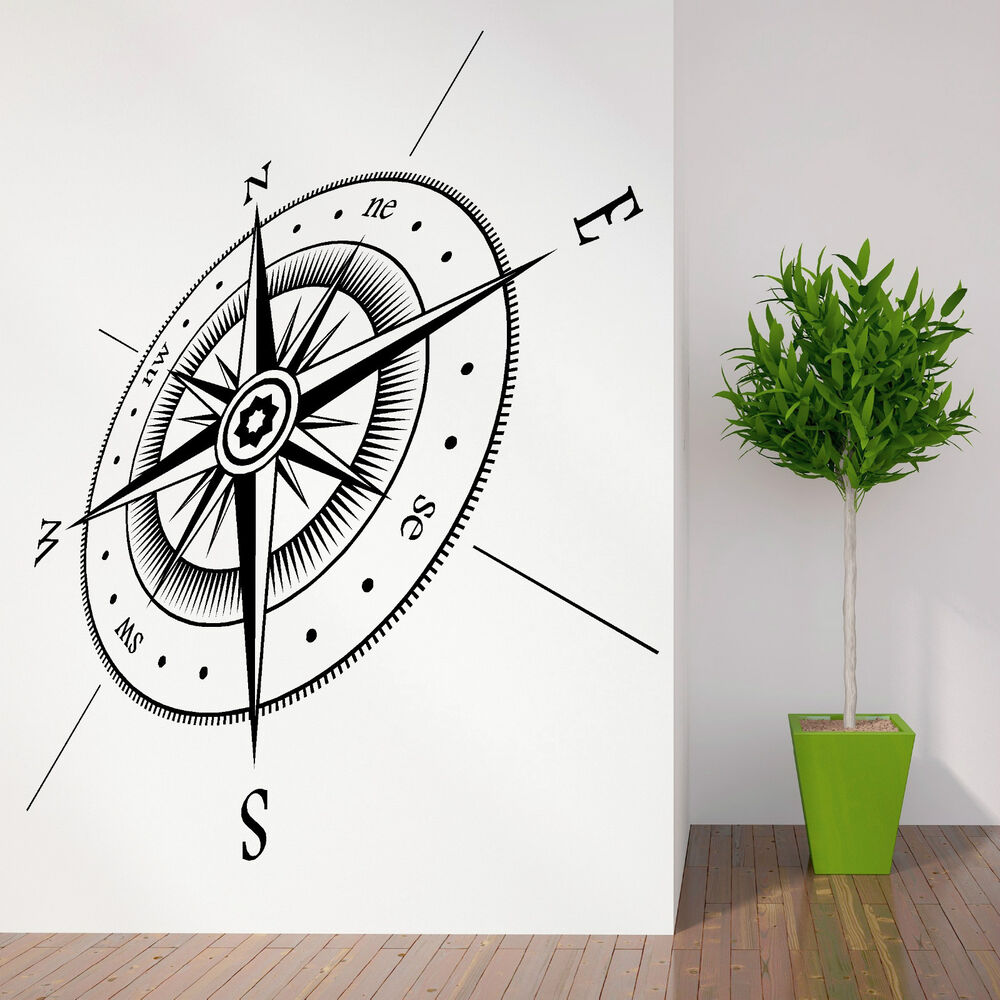 COMPASS North South East West Points Vinyl wall art ...