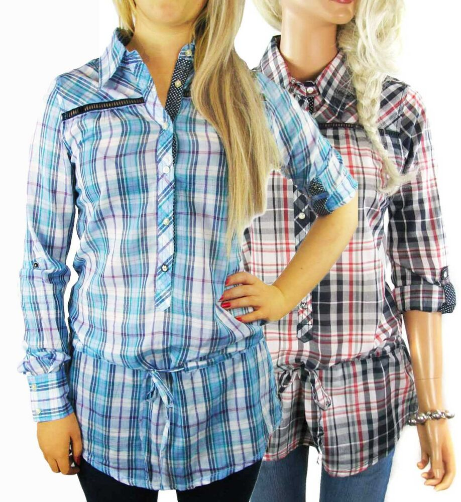 Clearance ladies check shirt womens size 8 12 long for Girls shirts size 8