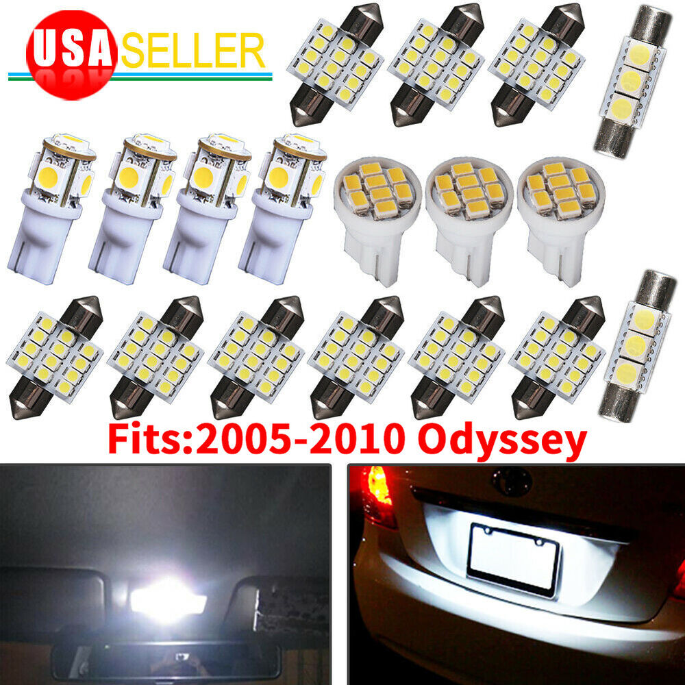 Details About 18x Pure White Interior LED Dome Map Lights Package Kit For  05 10 Honda Odyssey