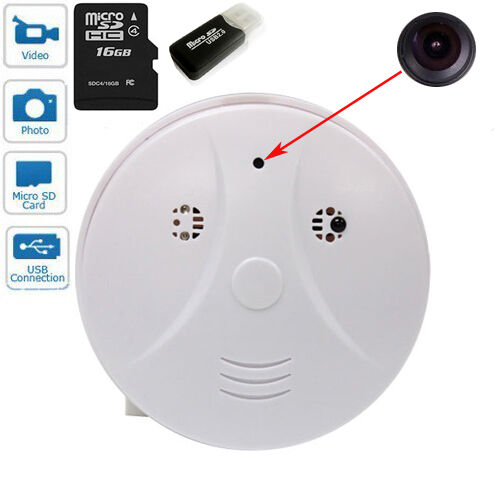 16gb tf card smoke detector spy hidden video camera recorder motion detection. Black Bedroom Furniture Sets. Home Design Ideas