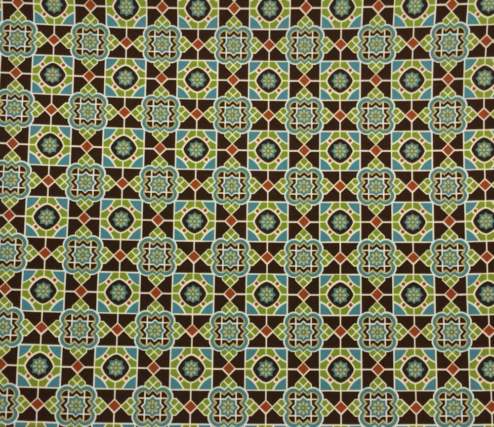 Maco dilma java brown geometric blue green outdoor for Outdoor fabric by the yard