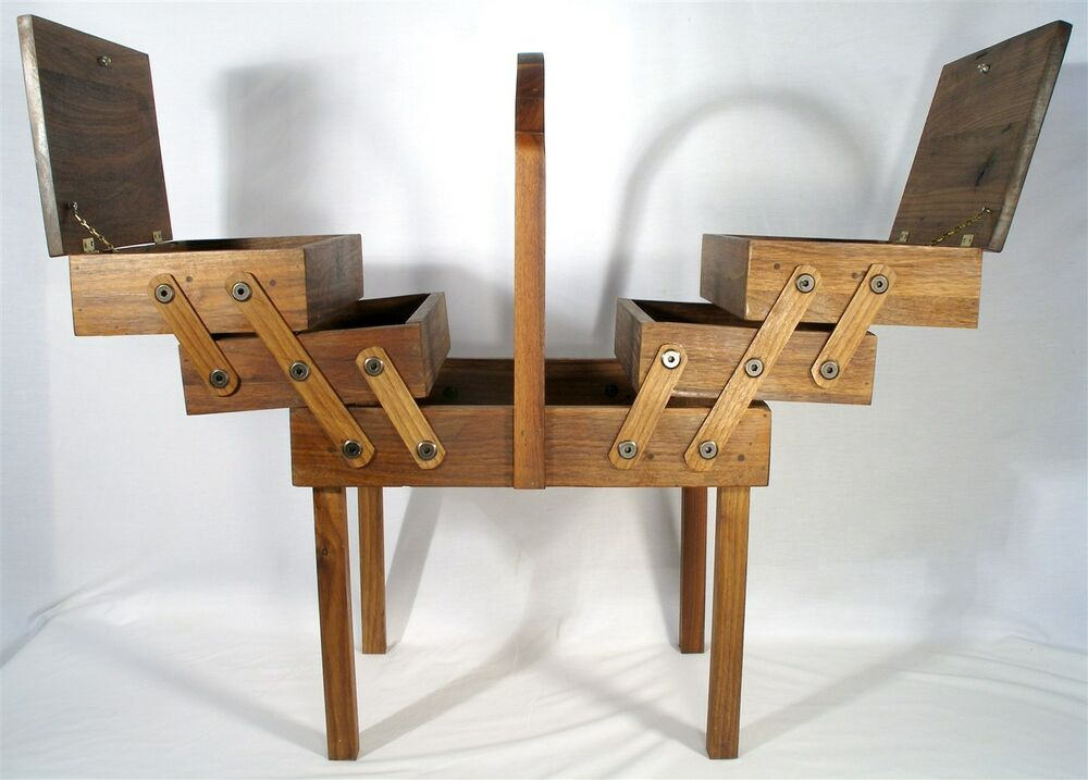 Vintage Walnut Hand Made Expandable Lift Top Wood Sewing