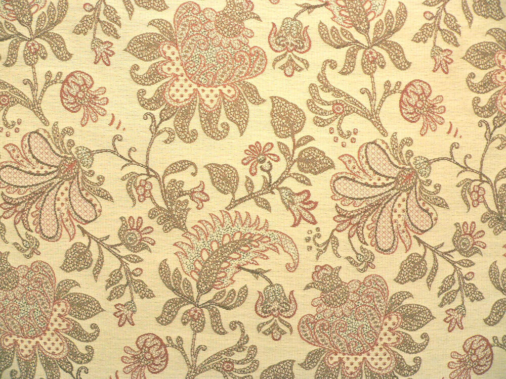 Drapery upholstery fabric woven chenille crinkled floral for Floral upholstery fabric