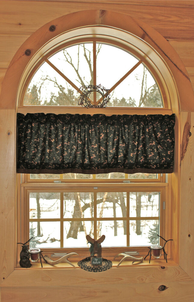 Northwoods lodge bear moose cabin country curtain valance for Northwood windows
