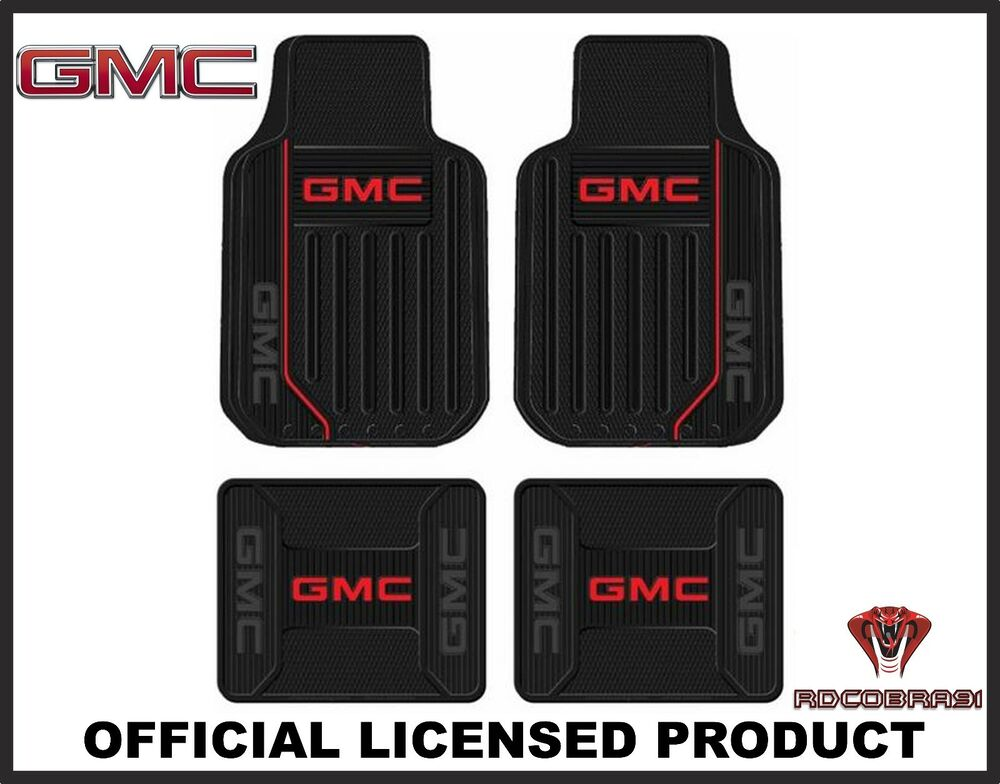 4pc Gmc Elite Front Amp Rear Rubber Floor Mats With Logo