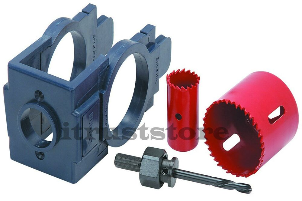 Door Hole Drilling : Door entry lock installation jig drilling drill bit guide