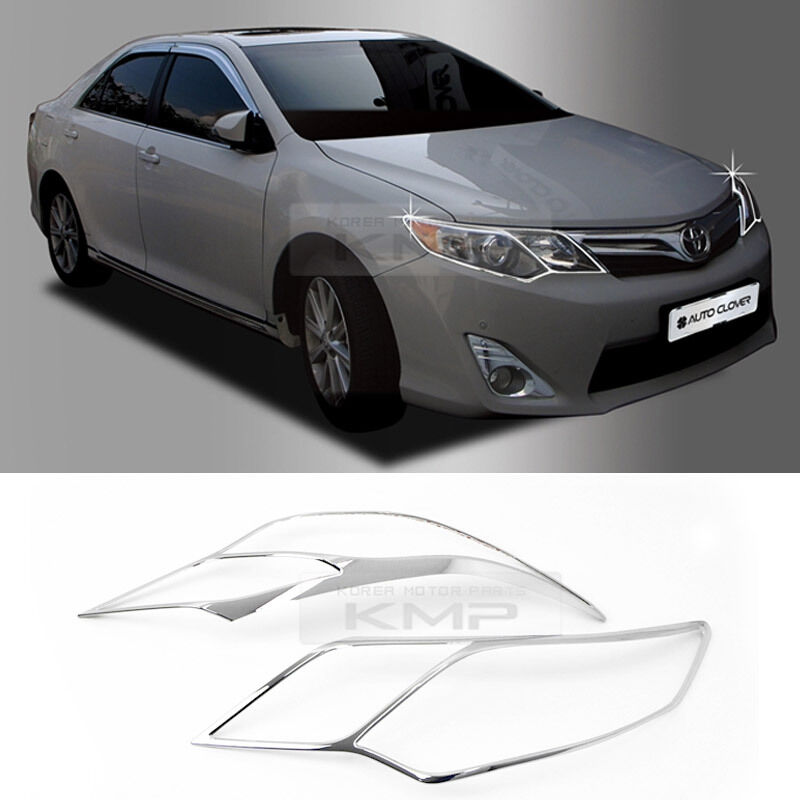chrome head lamp light cover garnish molding trim c471 for toyota 2012 14 camry ebay. Black Bedroom Furniture Sets. Home Design Ideas