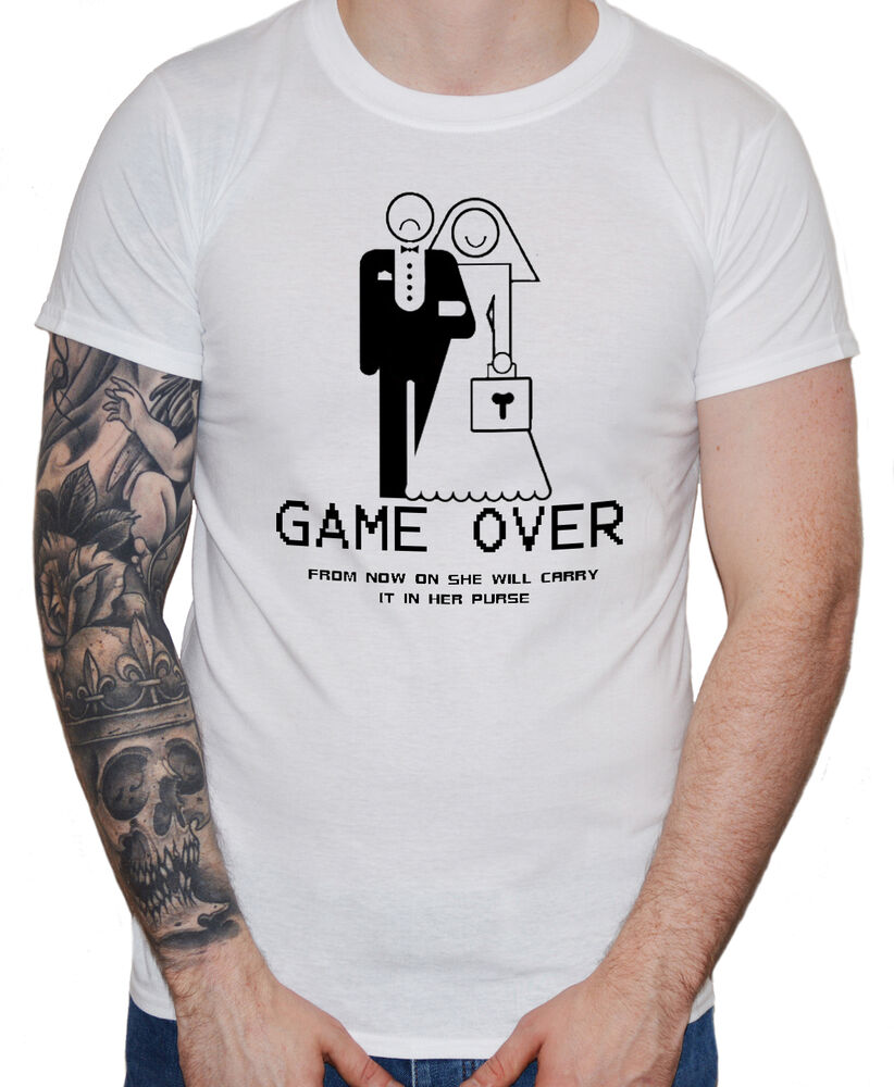 Funny wedding t shirt game over guys mens groom stag for Game t shirts uk