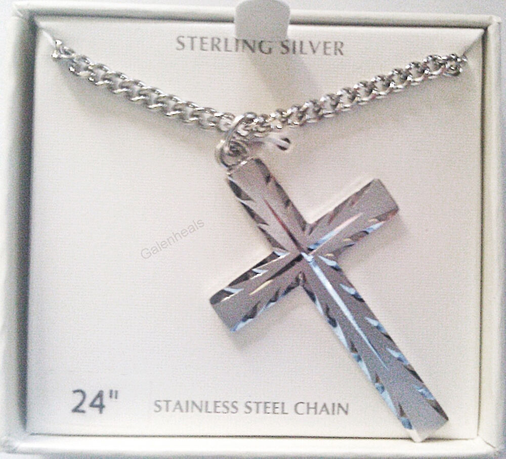 Men S Sterling Silver Cross Cut Pendant With 24 Quot Necklace