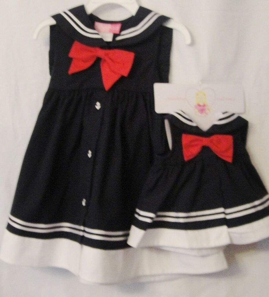 Navy and white nautical dress w red bow hat girl s 2 4t ebay