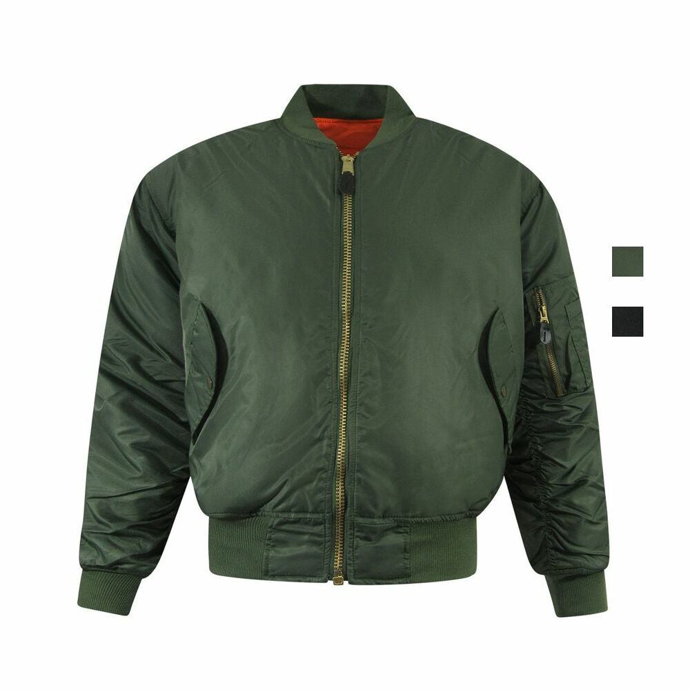8a1e7fbec9e Details about Adults Mens MA1 Style Bomber Jacket Flyers Puff Coat Zip Black  Olive Green S 5XL