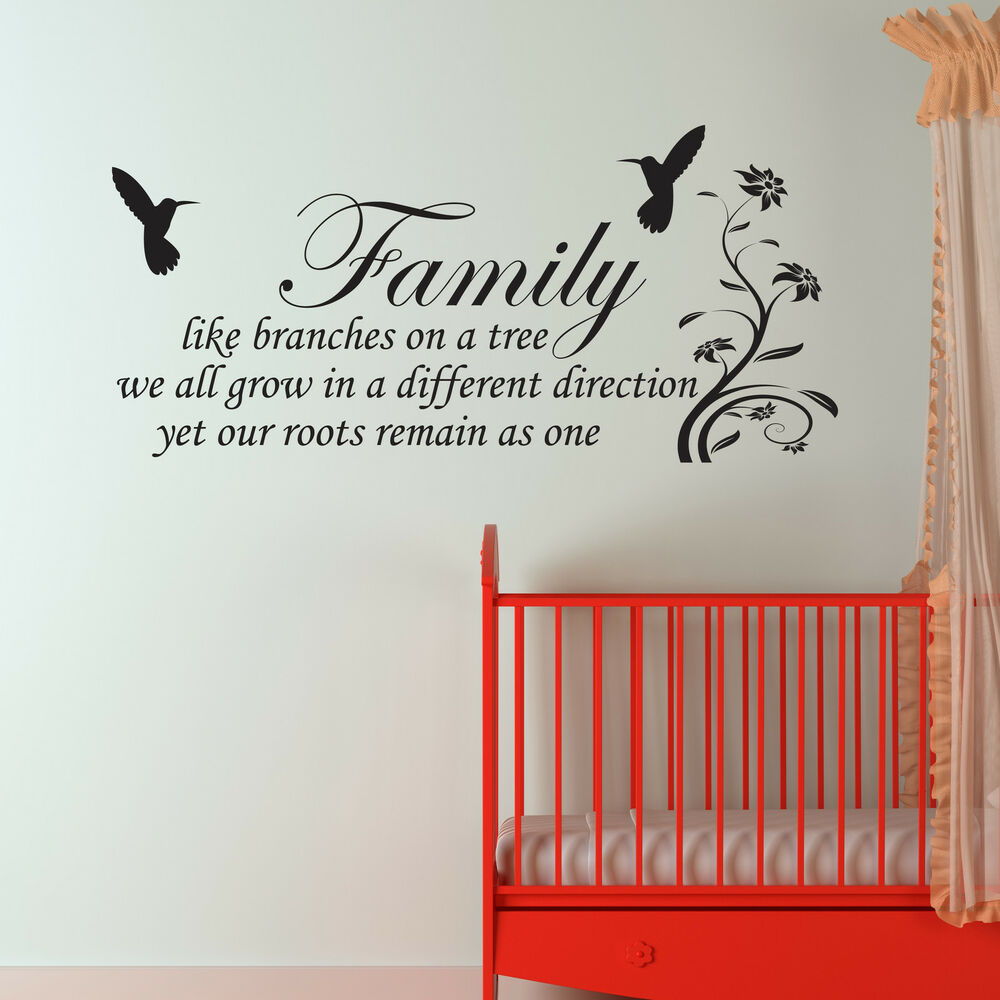 Positive Quotes Wall Art : Family inspirational wall art quote sticker
