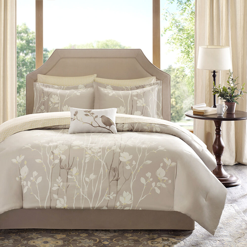 Beautiful 8pc modern elegant ivory white brown beige leaf for Elegant white comforter sets