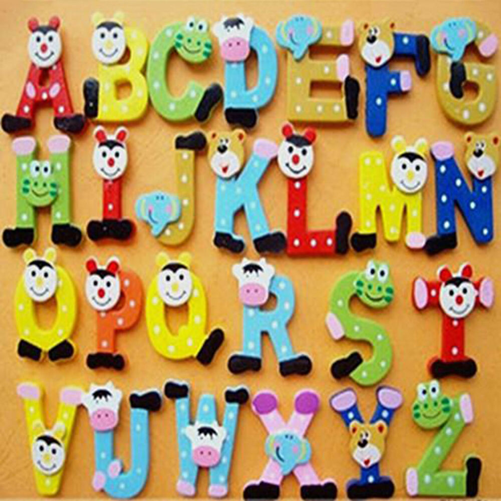 wooden cartoon alphabet fridge whiteboards magnet educational toys