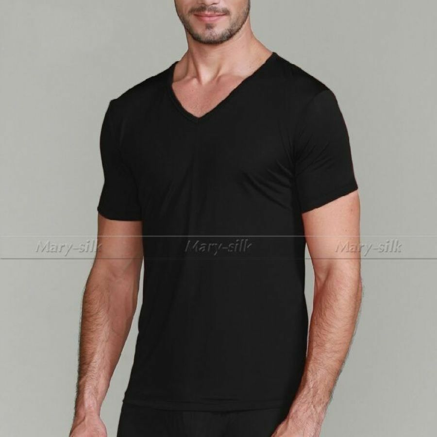 Mens 100 silk knitted t shirts v neck shirts casual tee for Tahari t shirt mens