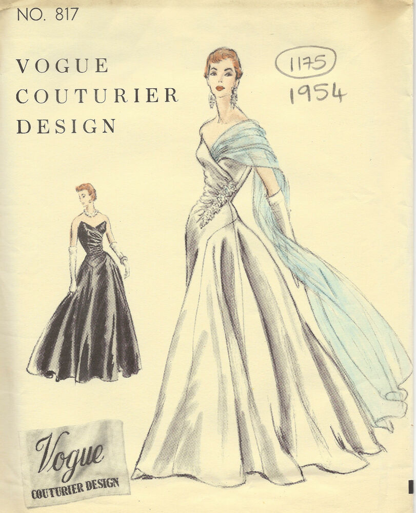 1954 Vintage Vogue Sewing Pattern B32 Dress Evening Gown