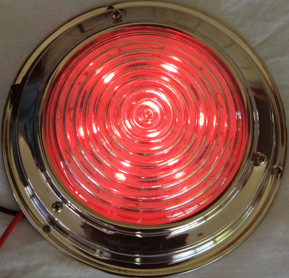 Dual Colour Led Dome Light 12 Volt Marine Stainless Steel Red White 138 Mm New Ebay