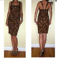 $325 DVF Diane Von Furstenberg Silk Tonga Dress Tan Brown Tribal Print 0 XS NWT