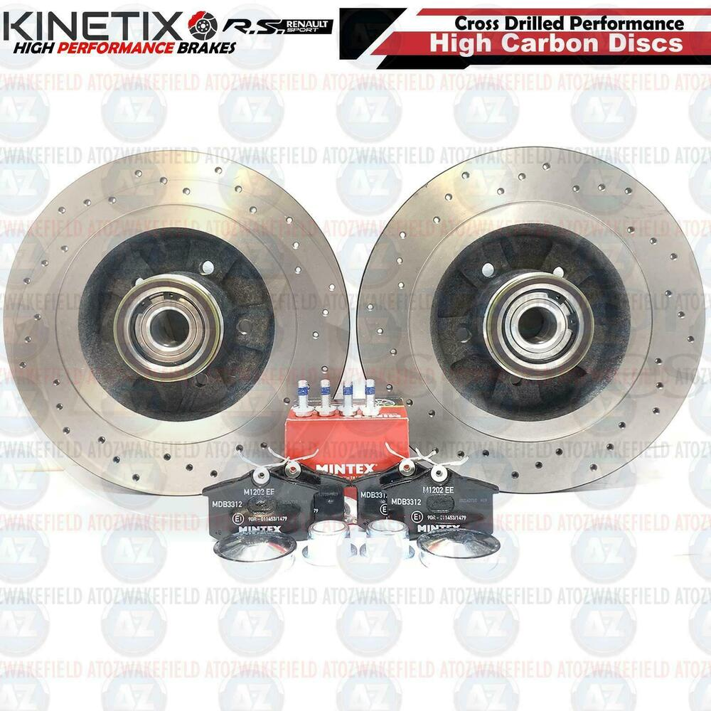 FOR RENAULT CLIO SPORT 197 200 REAR ABS BEARING DRILLED BRAKE DISCS ...
