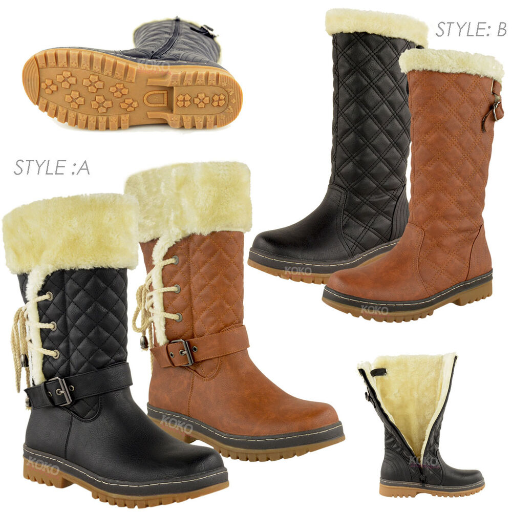 WOMENS LADIES FLAT MID CALF WINTER SNOW FUR LINED ANKLE