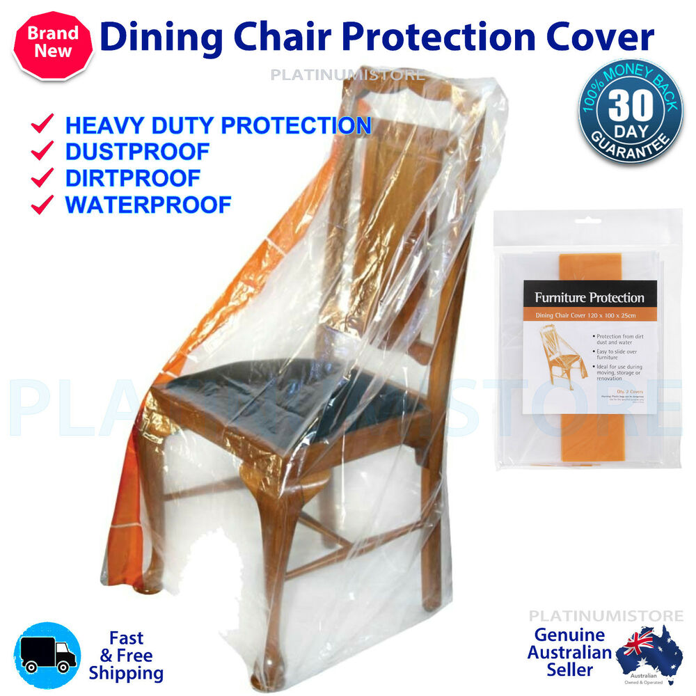 2 x dining chair furniture protector cover plastic protection for moving storage ebay Furniture plastic cover